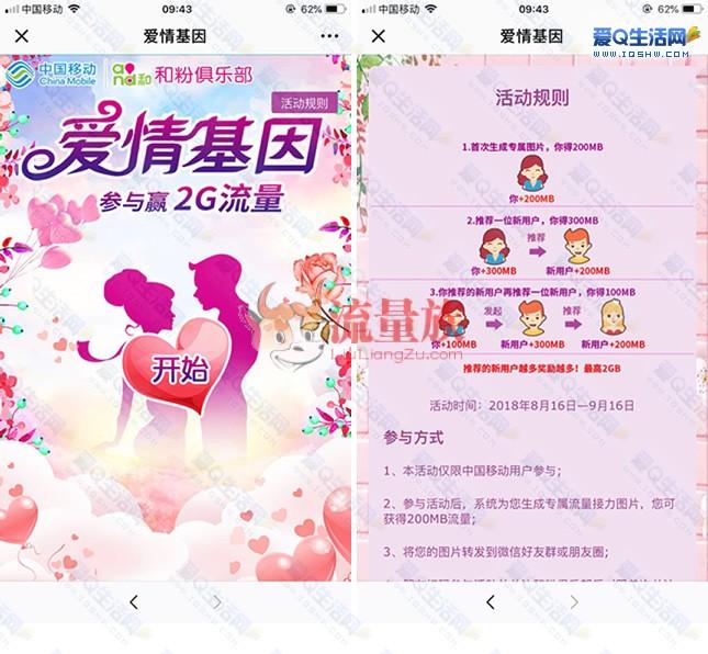 中国移动和粉俱乐部测爱情基因得200M流量 最高2G
